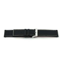 Cinturino orologio in vera pelle, nero, 22mm EX-J43