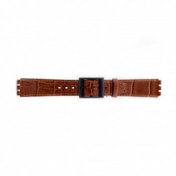 Cinturino orologio per Swatch in pelle di coccodrillo, marrone, 16mm PVK-SC16.03