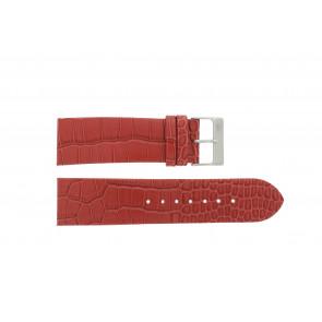Davis cinturino dell'orologio 1423 Pelle Rosso 24mm + cuciture giallo
