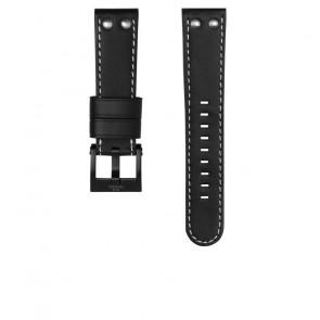 TW Steel cinturino dell'orologio CEB107 Pelle Nero 22mm + cuciture bianco