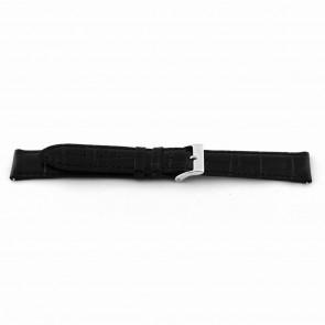 Cinturino dell'orologio EX-D015 Pelle Nero 14mm + cuciture nero
