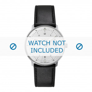 Junghans cinturino dell'orologio 027/4700.00 Pelle Nero 20mm + cuciture di default