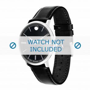 Movado cinturino dell'orologio 0607086 Pelle Nero 20mm + cuciture di default