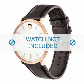 Movado cinturino dell'orologio 0607089 Pelle Marrone scuro 20mm + cuciture di default