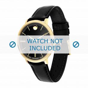 Movado cinturino dell'orologio 0607091 Pelle Nero 16mm + cuciture di default