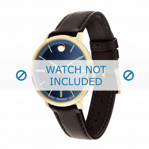 Movado cinturino dell'orologio 0607092 Pelle Marrone scuro 16mm + cuciture di default