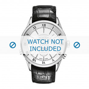 Roamer cinturino dell'orologio 508821-41-13-05 Pelle Nero 22mm + cuciture di default
