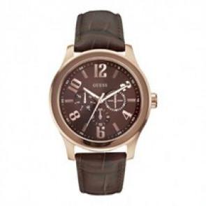 Guess cinturino dell'orologio W0008G3 Pelle Marrone scuro 22mm + cuciture marrone