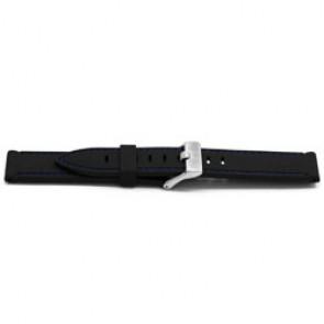Cinturino orologio Gomma 22mm Nero + cuciture blu EX XH17
