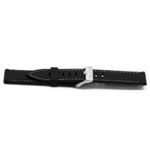 Cinturino orologio Gomma 22mm Nero + cuciture bianco EX XH18