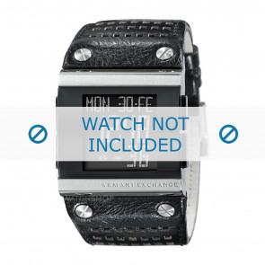 Armani cinturino dell'orologio  AX1066 Pelle Nero + cuciture nero