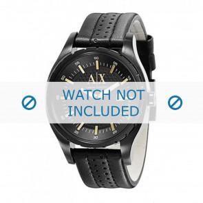 Armani cinturino dell'orologio AX1091 Pelle Nero 22mm + cuciture nero