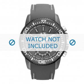 Armani cinturino dell'orologio AX1202 Gomma Grigio + cuciture bianco