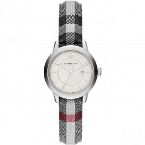 Cinturino per orologio Burberry BU10103 Pelle/Tessuto Grigio