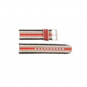 Burberry cinturino dell'orologio BU7601 Pelle Nero 22mm + cuciture bianco