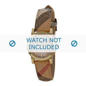 Burberry cinturino dell'orologio BU9219 Pelle Bianco crema / Beige 14mm + cuciture marrone