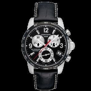 Certina cinturino dell'orologio C610007731 / C536.7029.42.65 XL Pelle Nero 20mm + cuciture bianco