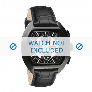 Dolce & Gabbana cinturino dell'orologio DW0214 Pelle di coccodrillo Nero + cuciture nero