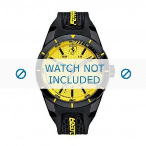 Ferrari cinturino dell'orologio SF0830246-689300183 Gomma / plastica Nero + cuciture giallo