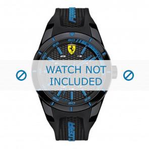 Ferrari cinturino dell'orologio SF0830247-689300184 Gomma / plastica Nero + cuciture blu
