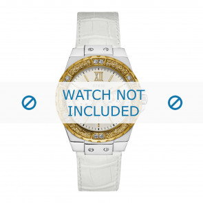Guess cinturino dell'orologio W0775L8 Limelight Pelle Bianco 20mm + cuciture bianco