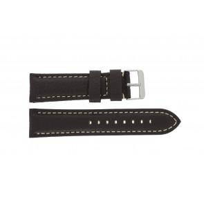 Cinturino dell'orologio I038 XL Pelle Marrone scuro 24mm + cuciture bianco
