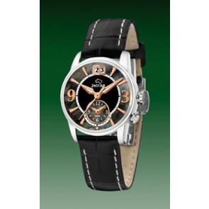 Jaguar cinturino dell'orologio J624-5 Pelle Nero 16mm + cuciture bianco