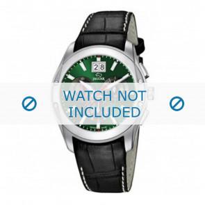 Jaguar cinturino dell'orologio J615-3 / J615-A / J615-B / J615-D / J615-E / J615-G / J615-H / J615-I / J615-J / J615-K Pelle di coccodrillo Nero 22mm + cuciture bianco
