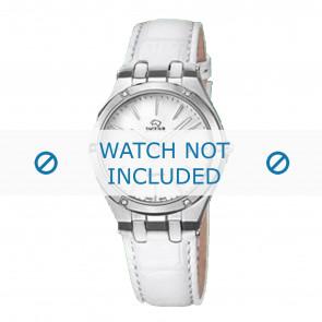 Jaguar cinturino dell'orologio J674-1 / J674-7 Pelle Bianco + cuciture bianco
