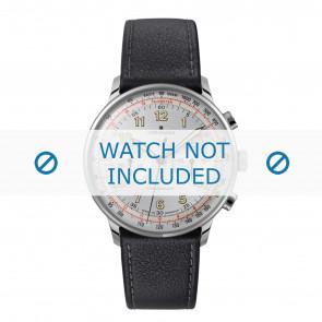 Junghans cinturino dell'orologio 027/3380.00 Pelle Nero 21mm + cuciture di default