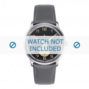 Junghans cinturino dell'orologio 027/3607.00 Pelle Grigio 20mm + cuciture bianco