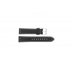 Max cinturino dell'orologio Z22 Pelle Nero 22mm + cuciture bianco