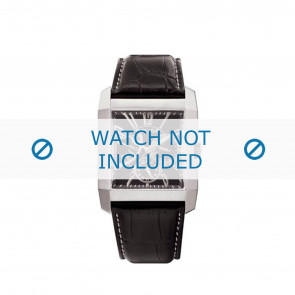 Police cinturino dell'orologio PL-10966MS/02 Pelle Nero + cuciture bianco