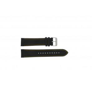 Pulsar cinturino dell'orologio VK63-X001 / PP077X Pelle Nero 22mm + cuciture giallo