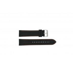 Pulsar cinturino dell'orologio VK63-X001 / PU2071X1 Pelle Nero 22mm + cuciture arancione