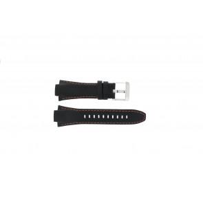 Seiko cinturino dell'orologio 7T62-0ED0 / H023 00C0 / SNJ007P  Pelle Nero 15mm + cuciture arancione
