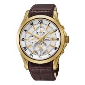 Seiko cinturino dell'orologio 7T62-0JW0 / SNAF22P1 Pelle Marrone 21mm + cuciture marrone