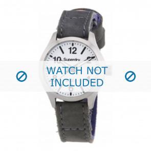 Superdry cinturino dell'orologio SYL113E Pelle Grigio + cuciture grigio