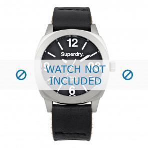 Superdry cinturino dell'orologio SYL116B Pelle Nero + cuciture nero