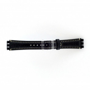 Cinturino orologio in vera pelle per Swatch, blu scuro / grigio, 19mm ES- 3.05