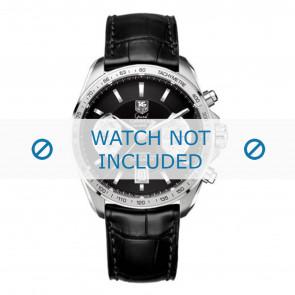 Tag Heuer cinturino dell'orologio FC6225 Pelle Nero + cuciture grigio