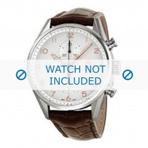 Tag Heuer cinturino dell'orologio FC6236 Pelle Marrone + cuciture marrone