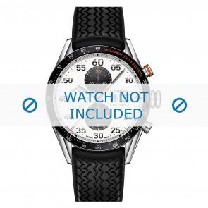 Tag Heuer cinturino dell'orologio FT6033 Gomma Nero