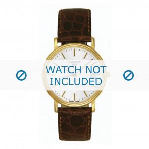 Tissot cinturino dell'orologio T870.970.122 - T600013056 Pelle di coccodrillo Marrone scuro 18mm + cuciture giallo