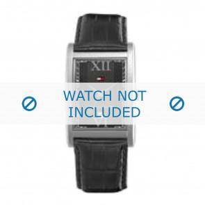 Tommy Hilfiger cinturino dell'orologio TH-67-1-14-0759 / TH1710175 Pelle Nero + cuciture nero