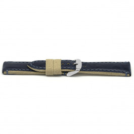 Cinturino per orologio Universale H628 Pelle/Tessuto Blu 22mm