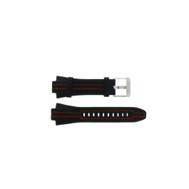Seiko cinturino orologio 7L22-0AD0 Pelle Nero 15mm + cuciture arancione