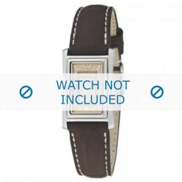 Armani cinturino orologio AR-0153 Pelle Marrone 16mm + cuciture bianco
