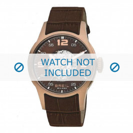 Breil cinturino dell'orologio BW0271 Pelle di coccodrillo Marrone + cuciture giallo