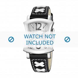 Calypso cinturino dell'orologio K5198-3 Pelle Nero 17mm + cuciture bianco
